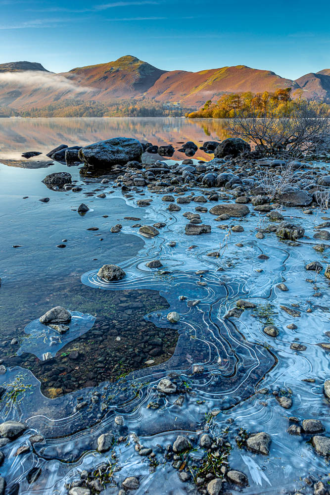Catbells from an icy Calfclose Bay in a Winter Sunrise