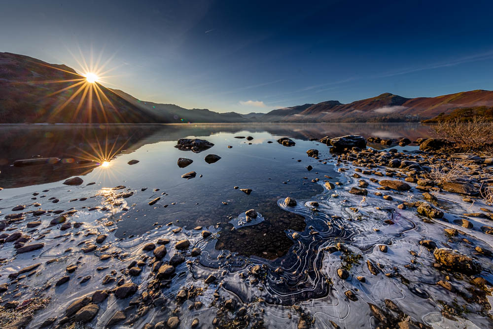 Borrowdale from an icy Calfclose Bay in a Winter Sunrise