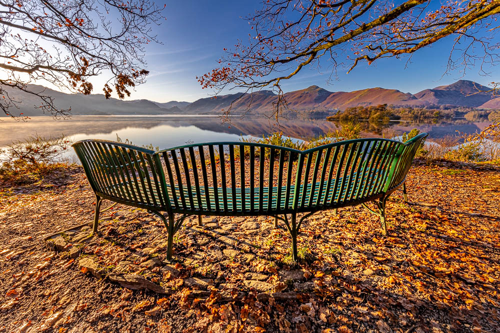 The Millenium Bench and Borrowdale from Calfclose Bay in a Winter Sunrise