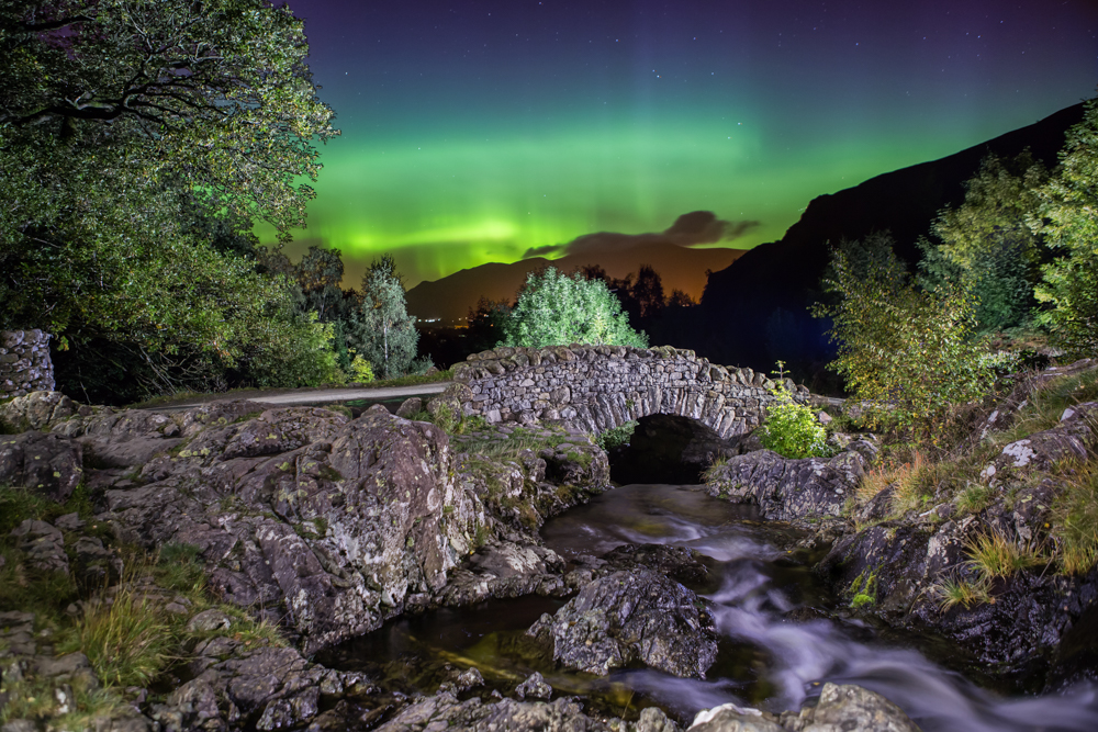 Aurora over Ashness Bridge